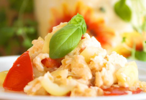 Miešané vajíčka so zeleninou